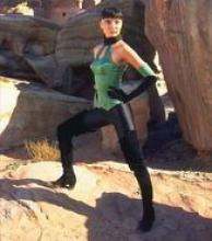 Jade in the second Mortal Kombat movie. Portrayed by Irina Pantaeva.