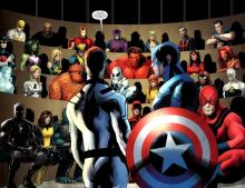 Iron Man and team in comic book