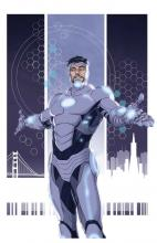 Iron Man in silver suit in comic book