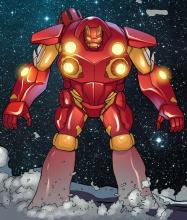 Iron Man in Mark 45 suit in comic book