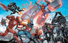 Iron Man and other heros in a battle within a comic book