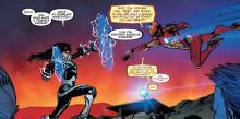 Iron Man in battle in comic book