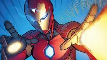 Iron Man using repulsors in comic book