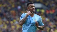 Gabriel Jesus scores for Manchester City and celebrates