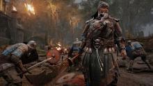A Jiang Jun stands stalwart amidst the chaos of battle
