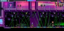 The titular character stands looking at a field of lasers in Katana Zero