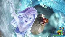 A whirlpool of water surrounds Sora as Ariel swims above him