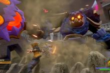 Sora battles a giant ax wielding Heartless