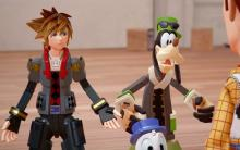 Sora and Goofy in their new toy forms