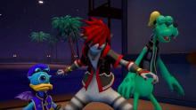 Sora, Donald, and Goofy in Monstropolis, which is where you get Fencer's Earring.