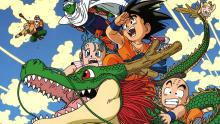 Kid Goku riding dragon with friends