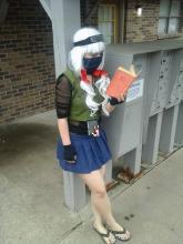 Kimgoescrazy poses in her female Kakashi cosplay