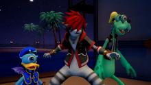 Sora, Goofy, and Donald become monsters to blend in with the Monsters Inc. characters.