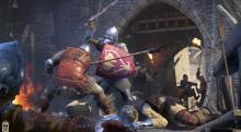 Violent, up-close and bloody combat on a drawbridge.