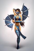 Kitana displays her fans in MK2011