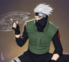 Kakashi twirls a throwing knife