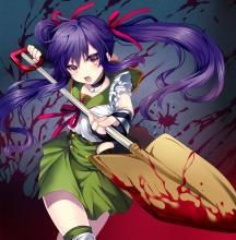 School-Live! desktop wallpaper of Kurumi with her weapon of choice, a shovel.
