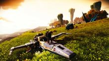 Here you see a landed ship with a planet in the background, absolutely beautiful.