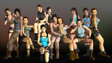 Here we see all of the versions of Lara through the years, from her first game to the latest reboot.