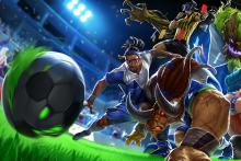 Lucian, Allistar, and other soccer skin characters.