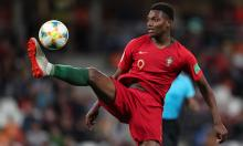 Rafael Leão playing for the Portuguese national team