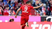 Robert Lewandowski scores for Bayern Munich and celebrates