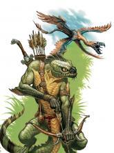 Lizardfolk Beast Master with Flying Snake