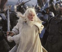 Gandalf fights alongside members of the fellowship