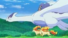 Lugia takes Ash for a ride.