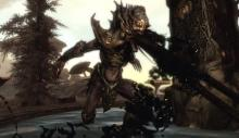 A terrifying lurker from the Dragonborn DLC attacking.