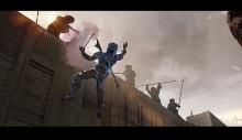 Concept art of the Mandalorian being electrocuted and falling off the Jawas' truck.