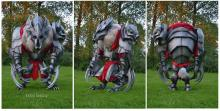 Some lucky fans got to see the armored beast in person when a dedicated artist created a real life costume of the skin
