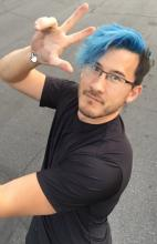 Here you will see Markiplier with his blue hair. Most of his fans loved the change.