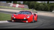 A Ferrari right on the apex.