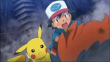 Ash and Pikachu rush to Keldeo's side after a tough battle with Kyurem.