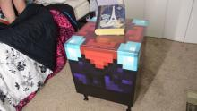 Check out this insanely realistic enchantment table! Nice little bedside desk!