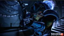 Mass Effect 2 character with one of the guns in the game