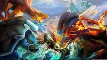 Powerful Mega Pokemon locked in epic battle.