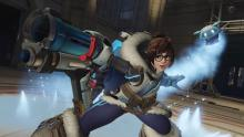 Mei uses Ice Wall to block the enemy team from pushing forward.