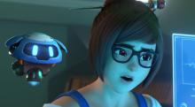 Mei does some research with her robot friend, Snowball.