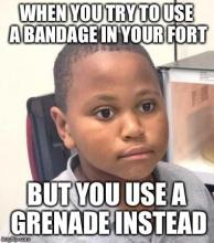 An accidental grenade instead of a heal is a recipe for disaster.
