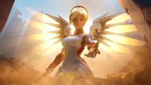 A screenshot of Mercy from the Overwatch announcement trailer.
