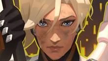 A closeup of Mercy from the Overwatch 2 announcement.