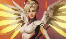 Mercy uses Valkyrie to heal and boost the damage of her allies.