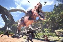 Many Character's stand off with a variety of weapons against a T-Rex like monster