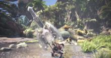 Discharge Elemental phials with specific attacks while using the Charge Blade in Monster Hunter World.