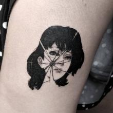 A shattered Mima Kirigoe tattoo by Yokai Hermit