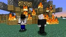 Watch in despair as griefers try to burn the world down.