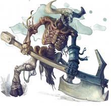 A skeletal minotaur that wields a greataxe.