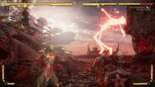 Raiden uses his godly powers to suspend the opponent in mid-air.